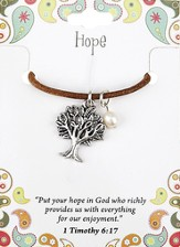 Hope Leather Necklace, Tree Charm, 1 Timothy 6:17