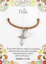 Faith Leather Necklace, Cross Charm, Matthew 17:20