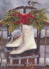 Winter Skates On Sled (Luke 2:14, KJV), 20 Count Boxed Christmas Cards