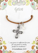 Grace Leather Necklace, Cross Charm, II Corinthians 12: 9