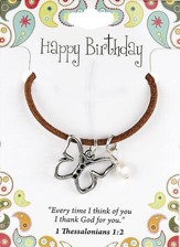 Happy Birthday Leather Necklace, Butterfly Charm