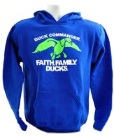 Duck Dynasty, Faith, Family, Ducks, Hooded Sweatshirt, Blue and Green Youth Large