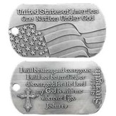 USA One Nation Under God Antique Finish Dog Tag-Joshua 1:9