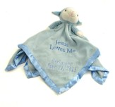 Personalized, Blue Lamb Plush Blanket, Jesus Loves Me