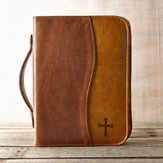 Two-tone Bible Cover with Cross, Brown and Tan, Large