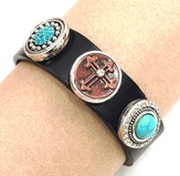 Have Faith Leather Snap Bracelet