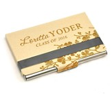 Personalized, Metal Business Card Holder, Graduation, Gold