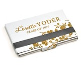 Personalized, Metal Business Card Holder, Graduation,  Silver