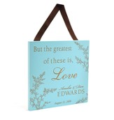 Personalized, Large Plaque, Floral Accent, Blue