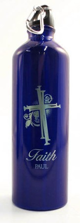 Personalized Nail Cross Water Bottle, Blue