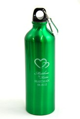 Personalized, Two Hearts Water Bottle, Green