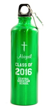 Personalized, Water Bottle, Graduation, Green