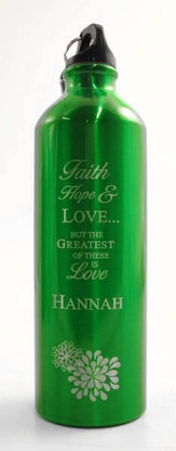 Personalized Love Water Bottle, Green