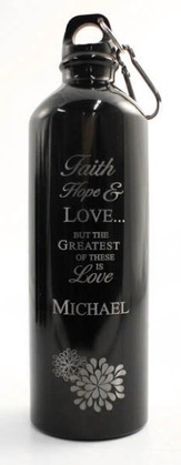 Personalized Love Water Bottle, Black