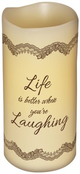 Everlasting Glow LED Candle, Vanilla Scented, Life Is Better When You're Laughing, 6x3