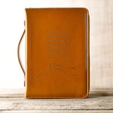 LuxLeather John 3:16 Bible Cover, Tan, Large