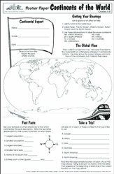 Poster Paper: Continents of the World, Grades 4-8  (Pack of 30)
