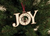 Joy to the World Wood Ornament, White
