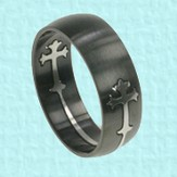 Black Double Cross Ring, Size 11