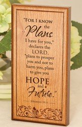 Jeremiah 29:11, Engraved Wood Plaque
