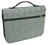 Tweed with Fish Bible Cover, Black and White, Medium