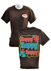 Happy Happy Happy Shirt, Brown,  X-Large