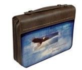 Soar on Wings Like Eagles Bible Cover, Brown, Large