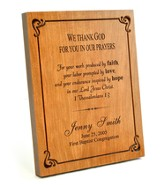 Personalized, Large Wood Plaque With Border, We Thank God For You In Our Prayers