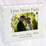 Personalized, Love Never Fails, White Photo Frame