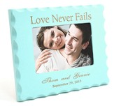 Personalized, Love Never Fails, Blue Photo Frame