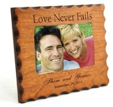 Personalized, Love Never Fails, Natural Wood Photo Frame