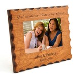 Personalized, Sisters By Heart, Natural Wood Photo Frame