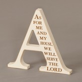 Letter A Plaque, As For Me and My House