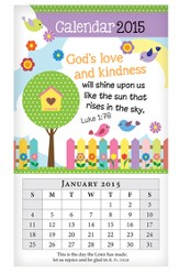 2015 Mini Magnetic Wall Calendar, God's Love and Kindness