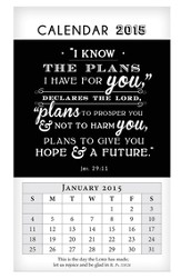 2015 Mini Magnetic Wall Calendar, I Know the Plans