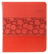 2015 Planner, Floral, Lux-Leather, Coral