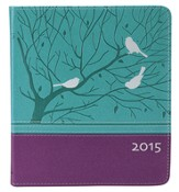 2015 Planner, Birds, Lux-Leather, Turquoise and Purple