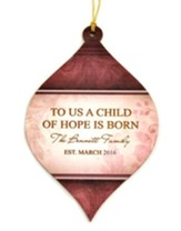 Personalized, Bulb Ornament, Red, To Us a Child of Hope is Born