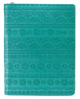 2015 Floral, Zipper Planner, Lux-Leather, Turquoise