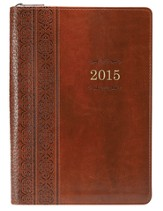 2015 Lux-Leather Executive Engagement Planner,  Brown, Zippered