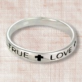 True Love Waits Sterling Silver Thin Band Ring, Size 9