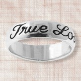 True Love Waits Sterling Silver Cursive Text Ring, Size 10
