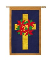 Poinsettia Wreath on Cross Flag, Large