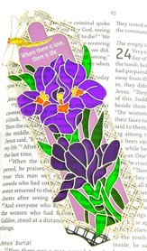 Suncatcher Bookmark and Magnet, Purple Irises
