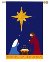 Nativity with Glitter Star Flag, Large