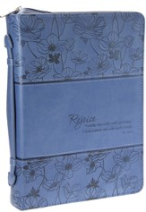 Rejoice, Psalm 100:2 Bible Cover, Blue, Large