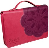 Be Still Flower Bible Cover, Pink and Purple, Medium