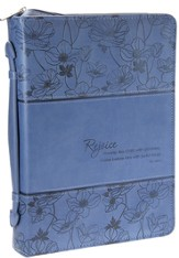 Rejoice, Psalm 100:2 Bible Cover, Blue, Medium