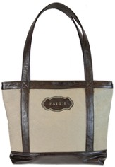 Micro-Fiber Tote, Faith, Tan