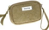 Embroidered Coin Purse Faith, Tan